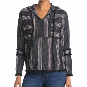 CURRENT AIR Striped Pullover Hooded Top  NWT